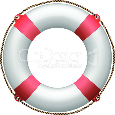 red life buoy against white background