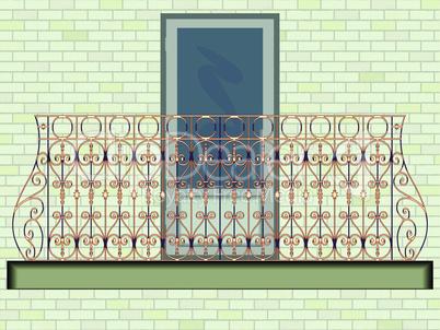 iron balcony against white