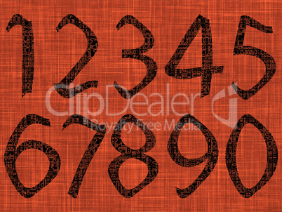 astract numbers over orange texture