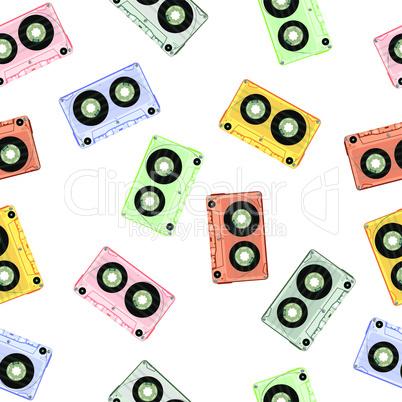 design with retro seamless audio tapes