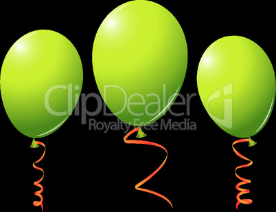 green balloons against black