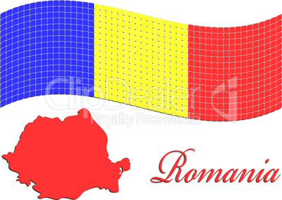 romanian flag and map against white