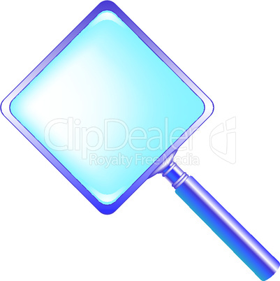 square blue magnifying glass