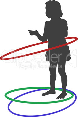 silhouette of girl playing with circles