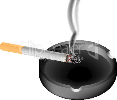 smoky cigarette and ashtray
