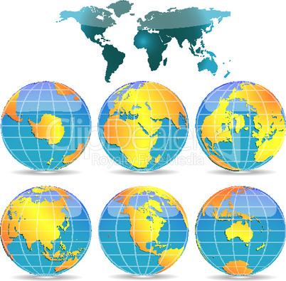 world globes against white