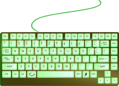 green shiny keyboard