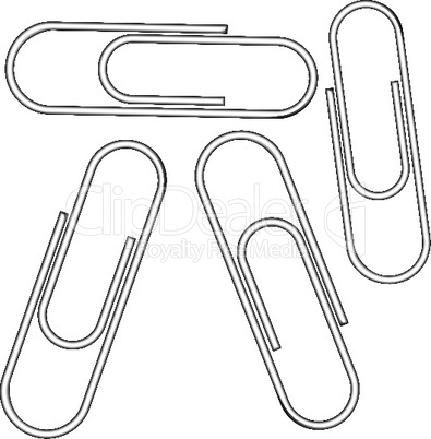 metallic clips against white