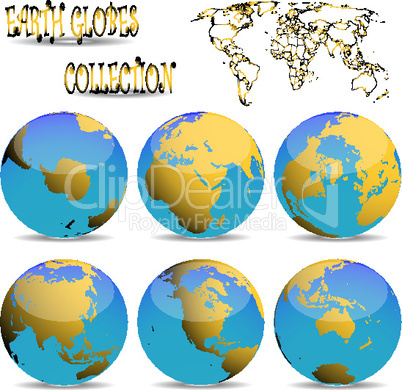 earth globes against white