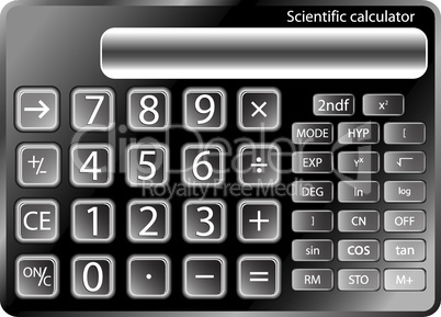 black calculator against white