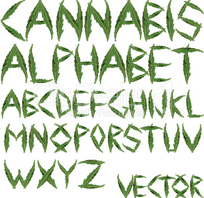 cannabis leafs alphabet 2