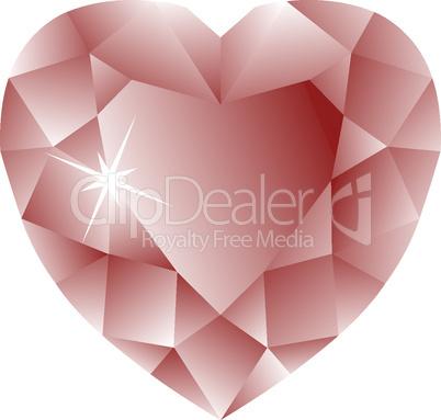 heart shape ruby against white