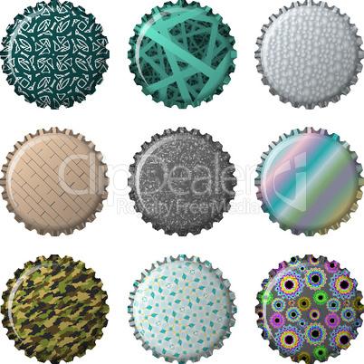 nine textured bottle caps