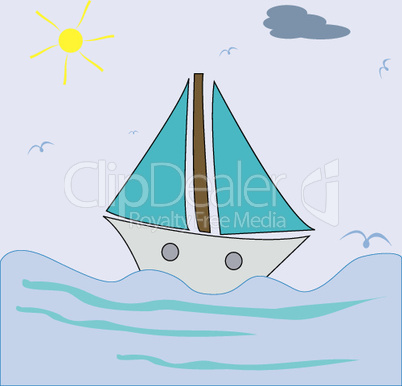 ship sailing, vector art illustration