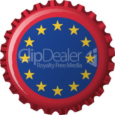 european union flag on bottle cap