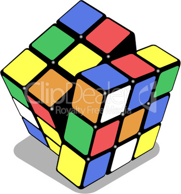 rubik cube isolated on white