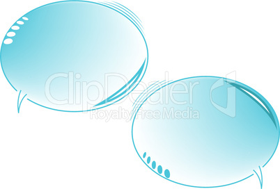 blue text bubbles isolated on white