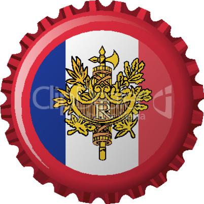 france abstract flag on bottle cap