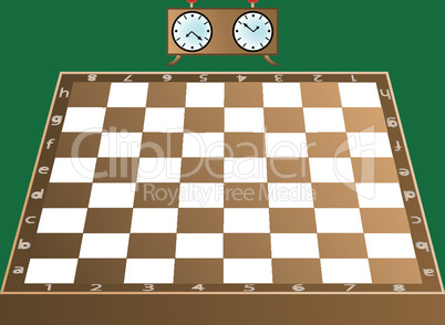 chess board and clock