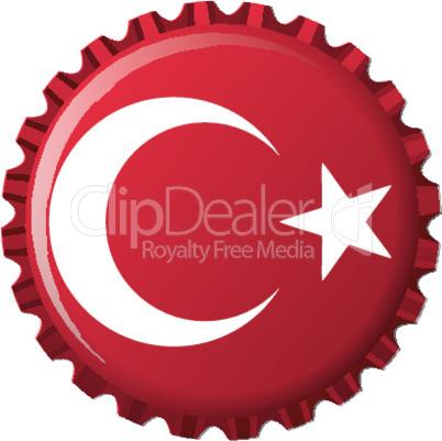 turkey stylized flag on bottle cap