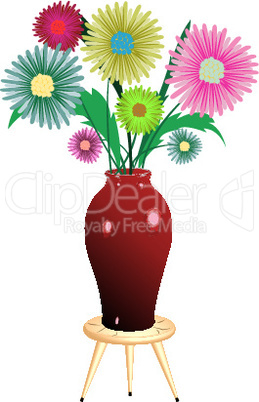 flowers arrangement with wooden chair