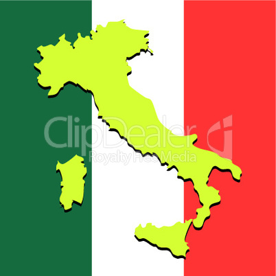 italy map over national colors