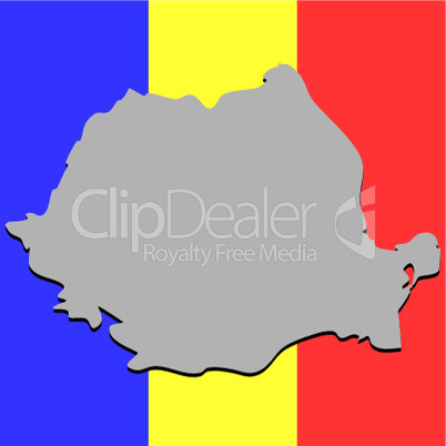 romanian map over national colors
