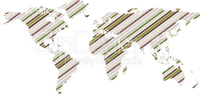 green striped world map