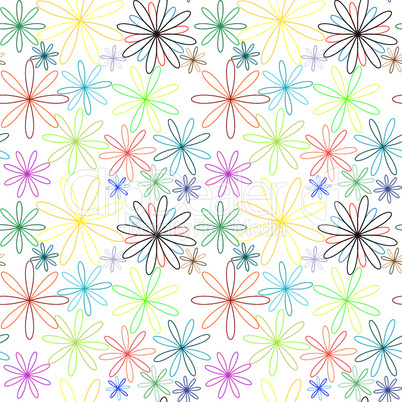 colored flowers abstract pattern extended