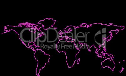 purple world map outline over black background