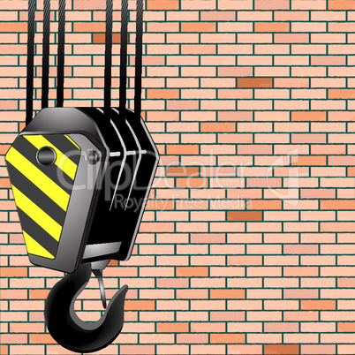 crane hook over wall background