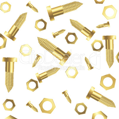 screws and nuts over white background