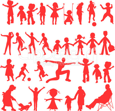 peoples red silhouettes isolated on white background