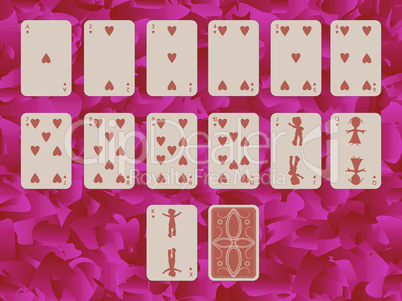 suit of hearts playing cards on purple background