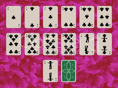 suit of clubs playing cards on purple background