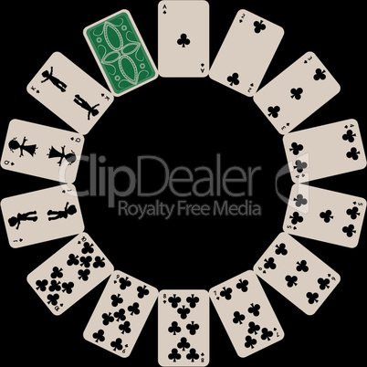 circle shape clubs playing cards isolated on black