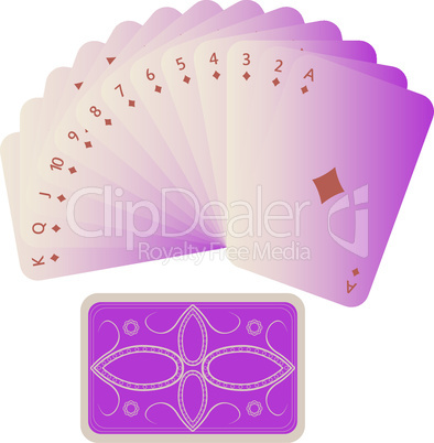 diamonds cards fan with deck isolated on white