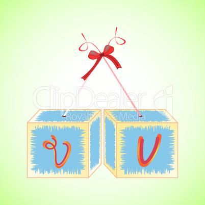 cubes alphabet V
