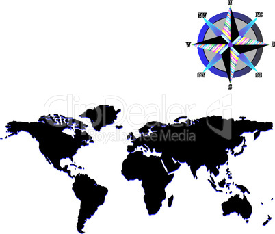 black world map with wind rose