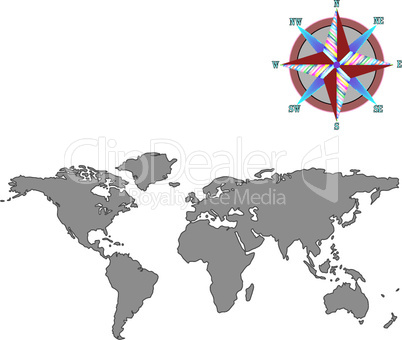 gray world map with wind rose