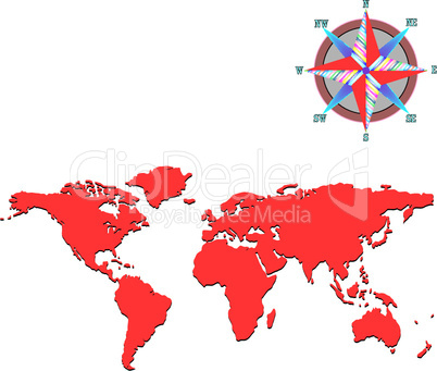 red world map with wind rose