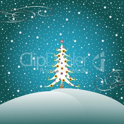 stars snow and christmas tree 2