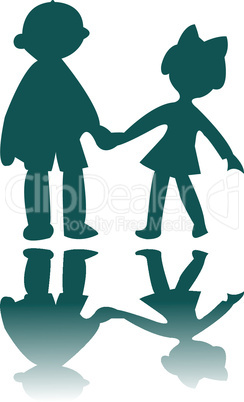 boy and girl blue silhouettes