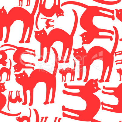 red cats pattern isolated on white background