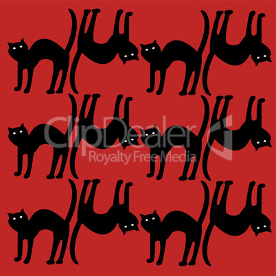 cat pattern, isolated on red pattern