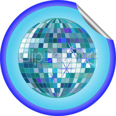 disco ball blue sticker 2