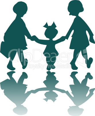 three little girls going to a walk