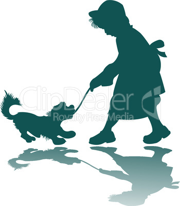 little girl and dog silhouettes
