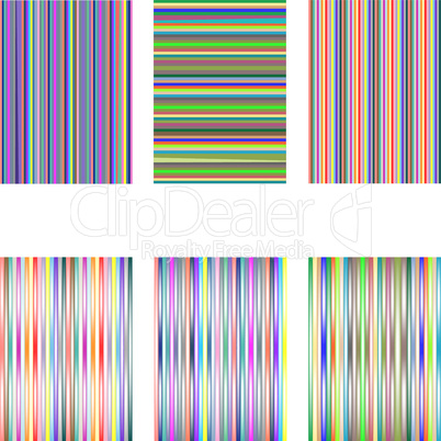 set of 6 diferent stripes isolated on white
