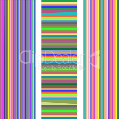 set of 3 diferent stripes isolated on white background